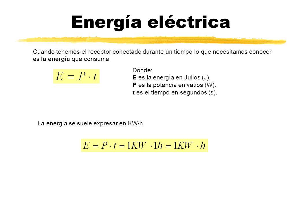 Energía eléctrica Cuando tenemos el receptor conectado durante un tiempo lo que necesitamos conocer es la energía que consume.
