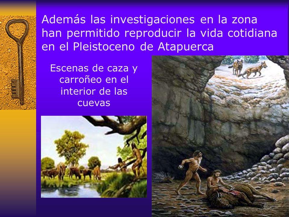 Escenas de caza y carroñeo en el interior de las cuevas