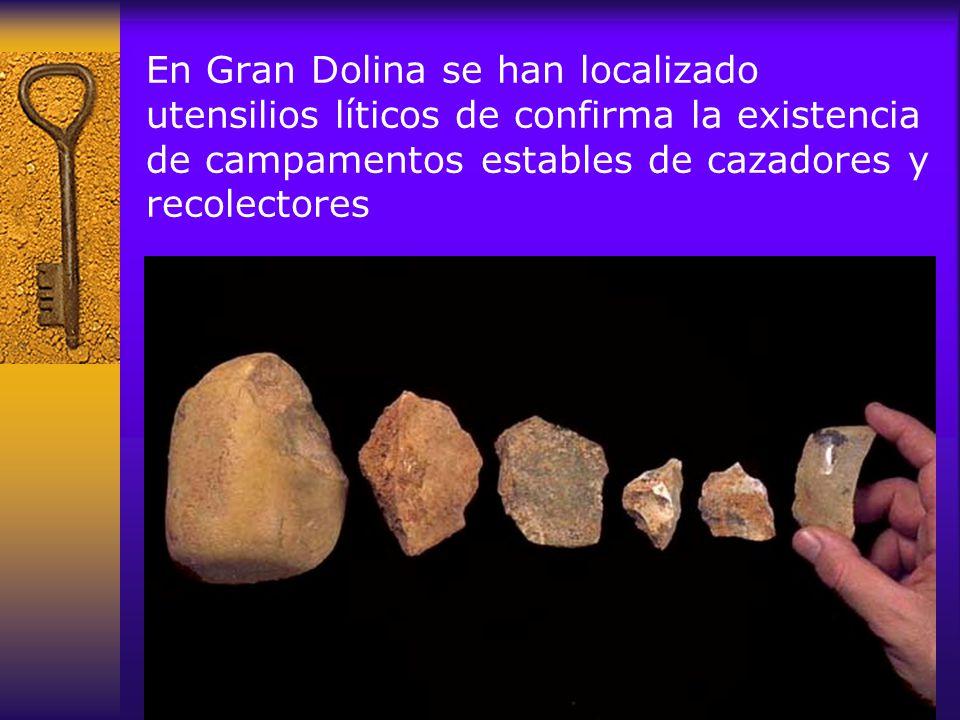 En Gran Dolina se han localizado utensilios líticos de confirma la existencia de campamentos estables de cazadores y recolectores