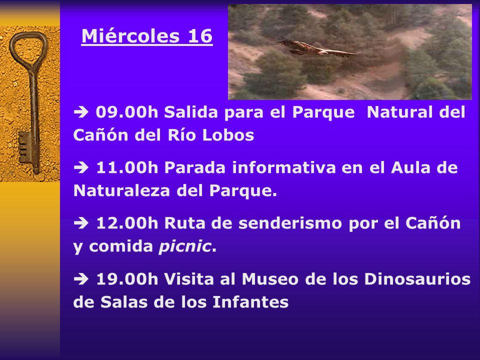 Miércoles 16  09.00h Salida para el Parque Natural del Cañón del Río Lobos.  11.00h Parada informativa en el Aula de Naturaleza del Parque.