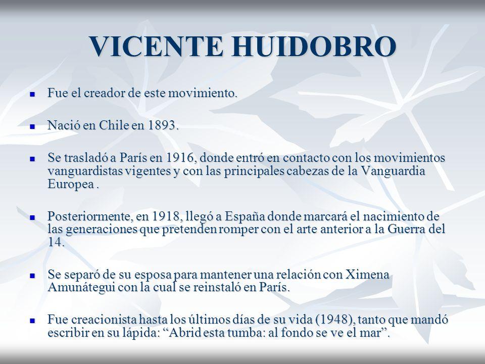VICENTE HUIDOBRO Fue el creador de este movimiento.
