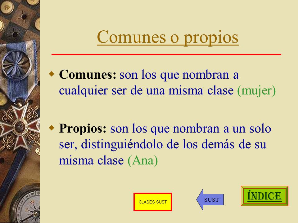 Comunes o propios Comunes: son los que nombran a cualquier ser de una misma clase (mujer)
