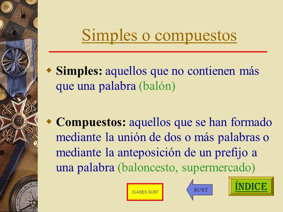 Simples o compuestos Simples: aquellos que no contienen más que una palabra (balón)