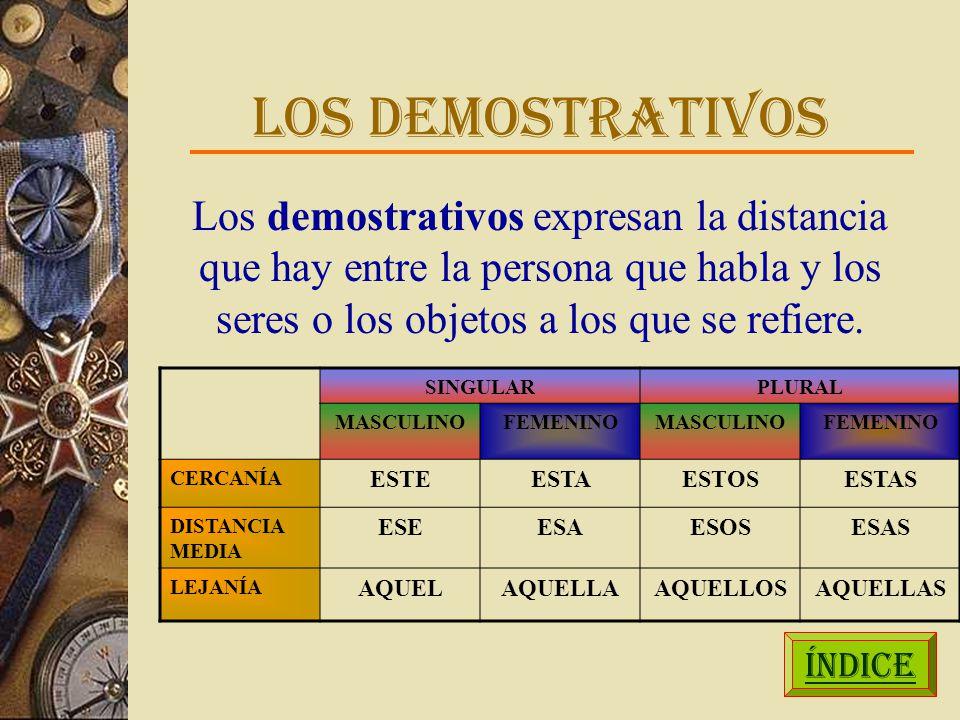 LOS DEMOSTRATIVOS Los demostrativos expresan la distancia que hay entre la persona que habla y los seres o los objetos a los que se refiere.