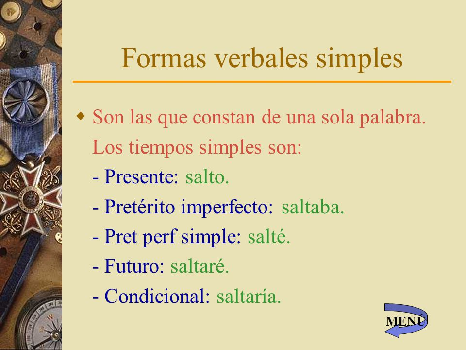 Formas verbales simples