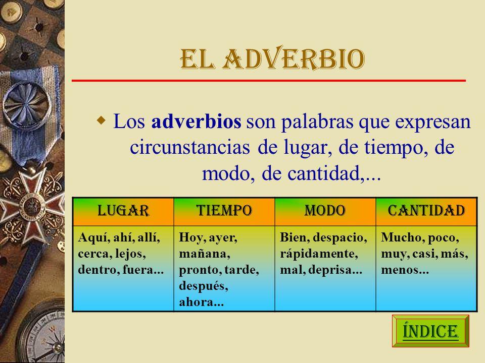 EL ADVERBIO Los adverbios son palabras que expresan circunstancias de lugar, de tiempo, de modo, de cantidad,...