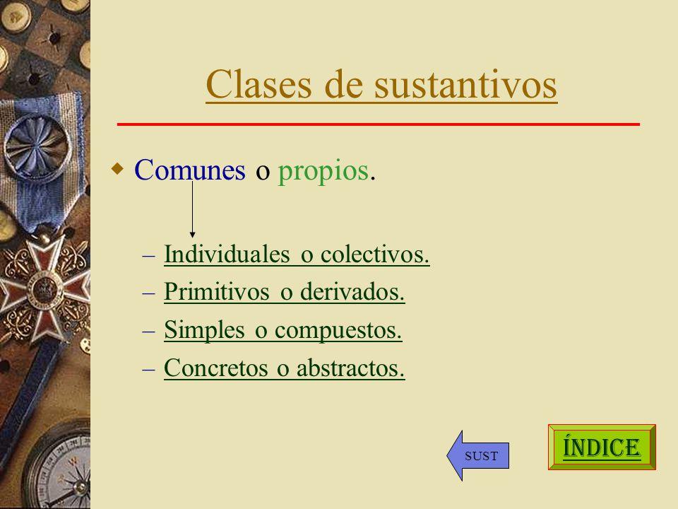 Clases de sustantivos Comunes o propios. Individuales o colectivos.