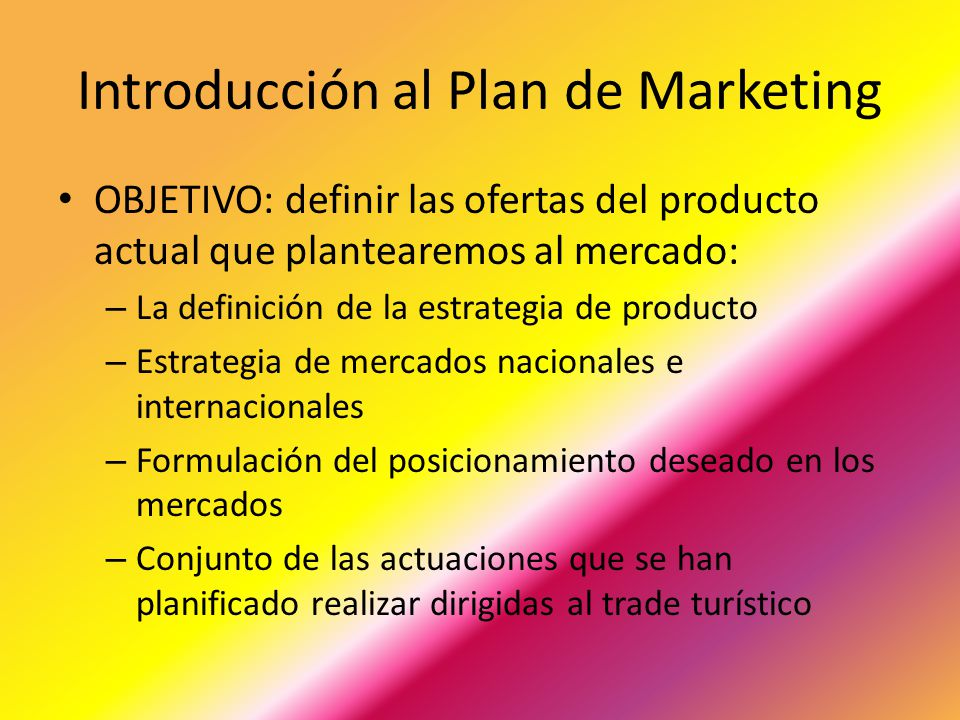 Introducción al Plan de Marketing