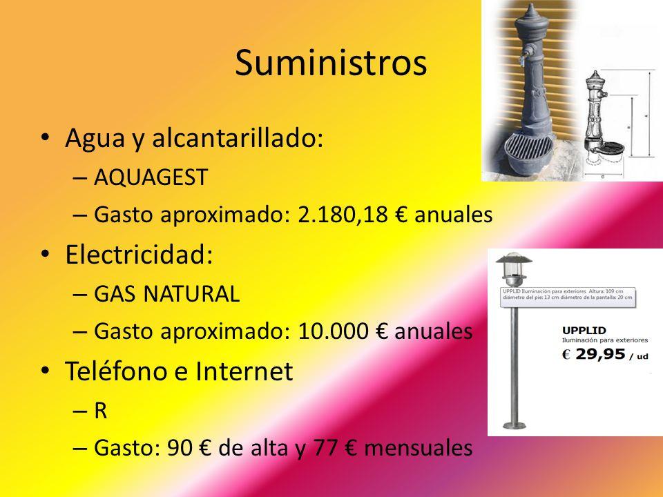 Suministros Agua y alcantarillado: Electricidad: Teléfono e Internet