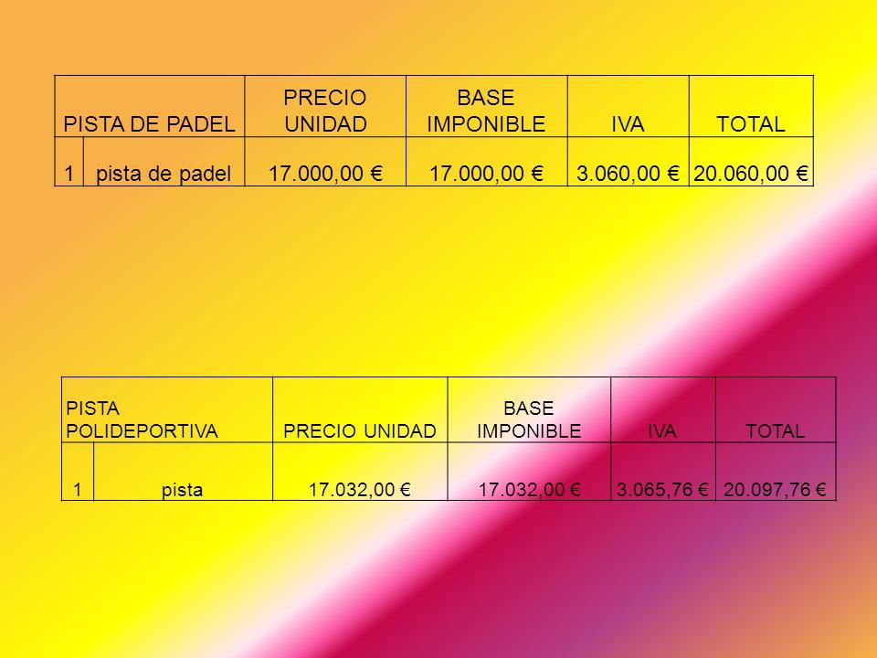PISTA DE PADEL PRECIO UNIDAD BASE IMPONIBLE IVA TOTAL 1 pista de padel