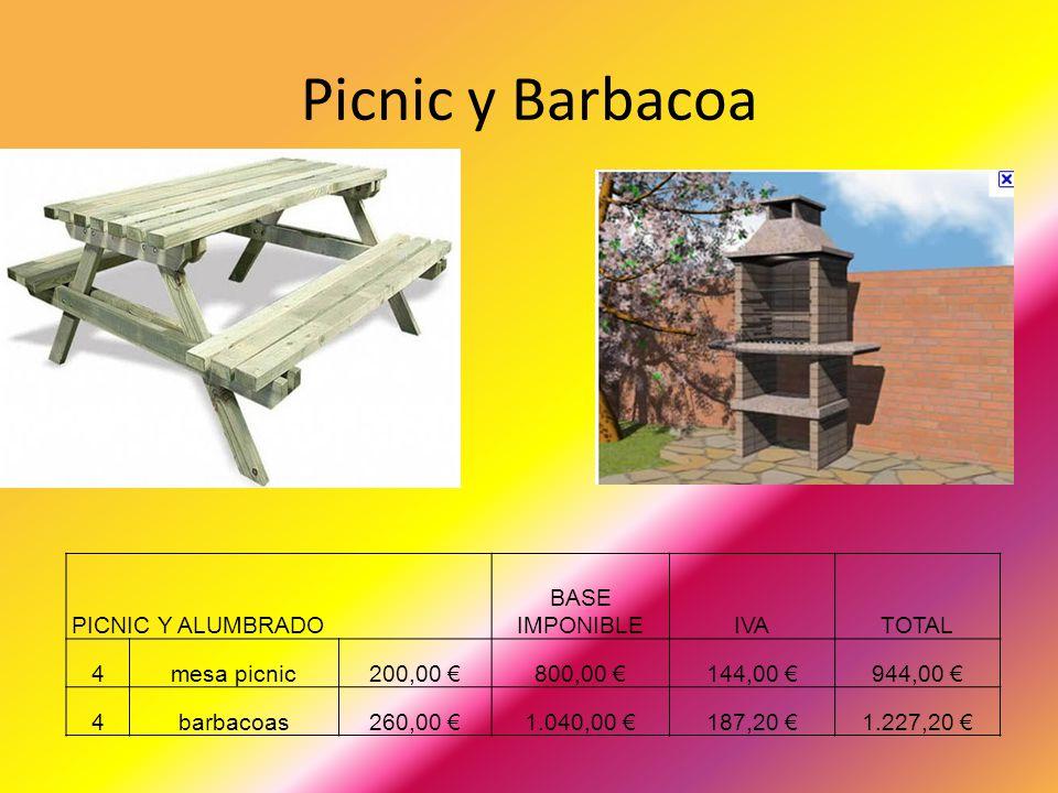 Picnic y Barbacoa PICNIC Y ALUMBRADO BASE IMPONIBLE IVA TOTAL 4