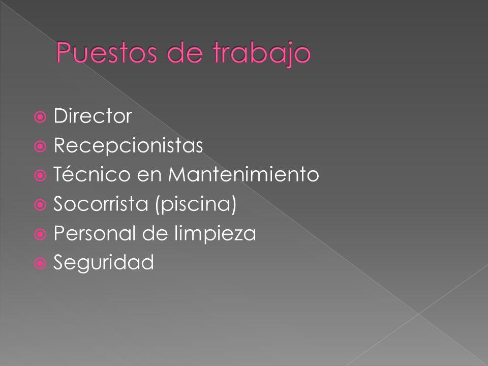 Puestos de trabajo Director Recepcionistas Técnico en Mantenimiento