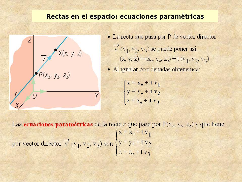 Rectas en el espacio: ecuaciones paramétricas