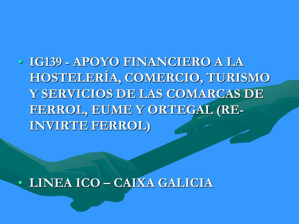 IG139 - APOYO FINANCIERO A LA HOSTELERÍA, COMERCIO, TURISMO Y SERVICIOS DE LAS COMARCAS DE FERROL, EUME Y ORTEGAL (RE-INVIRTE FERROL)