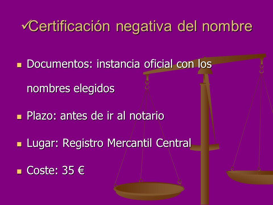 Certificación negativa del nombre