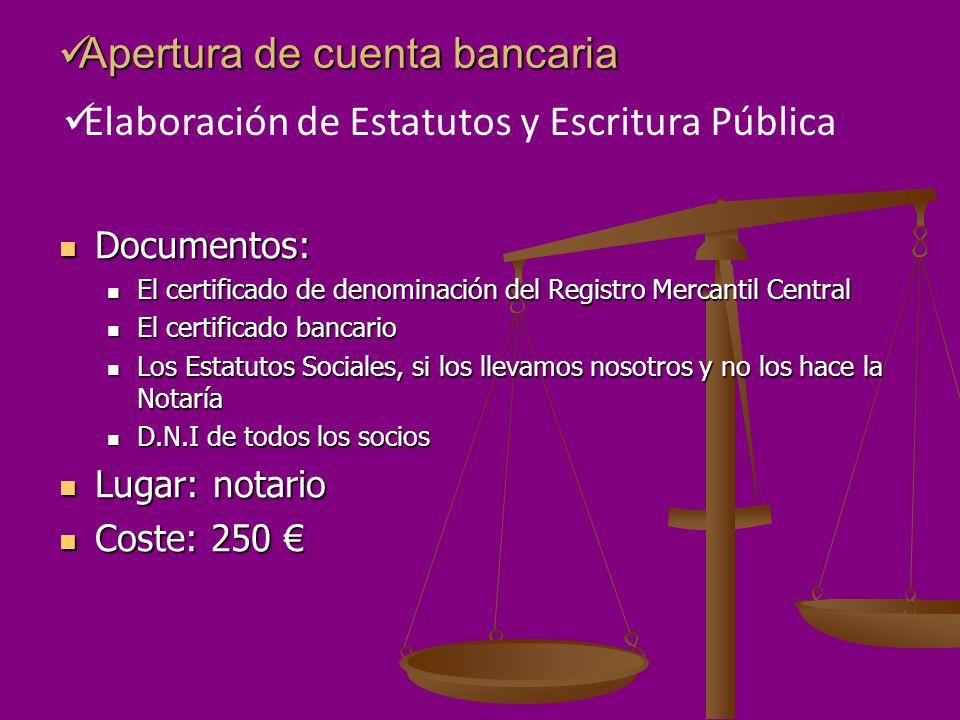Apertura de cuenta bancaria