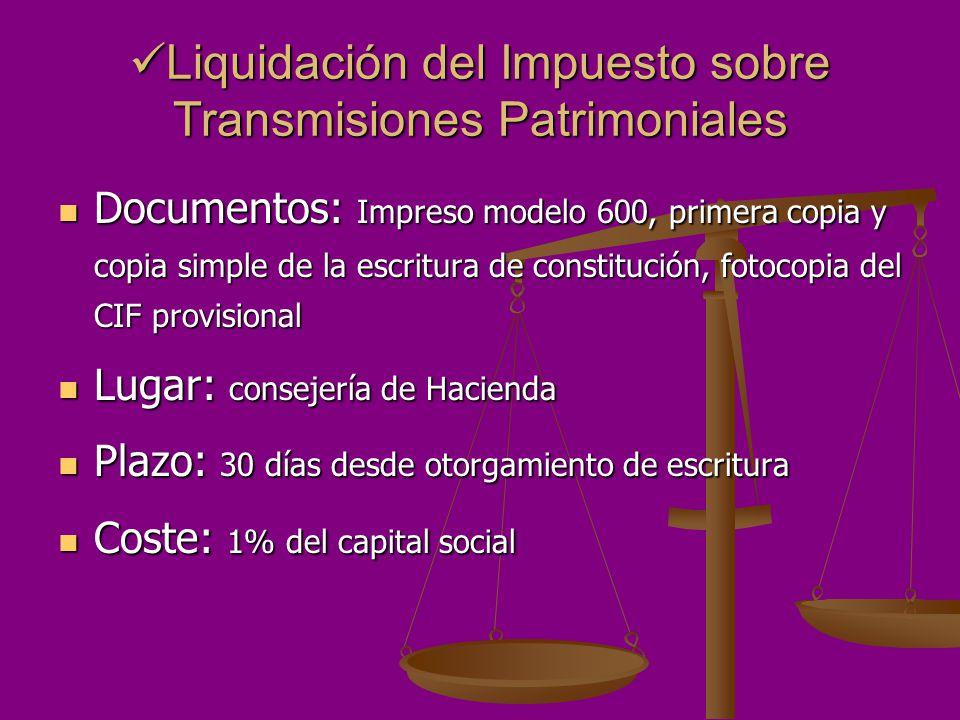 Liquidación del Impuesto sobre Transmisiones Patrimoniales