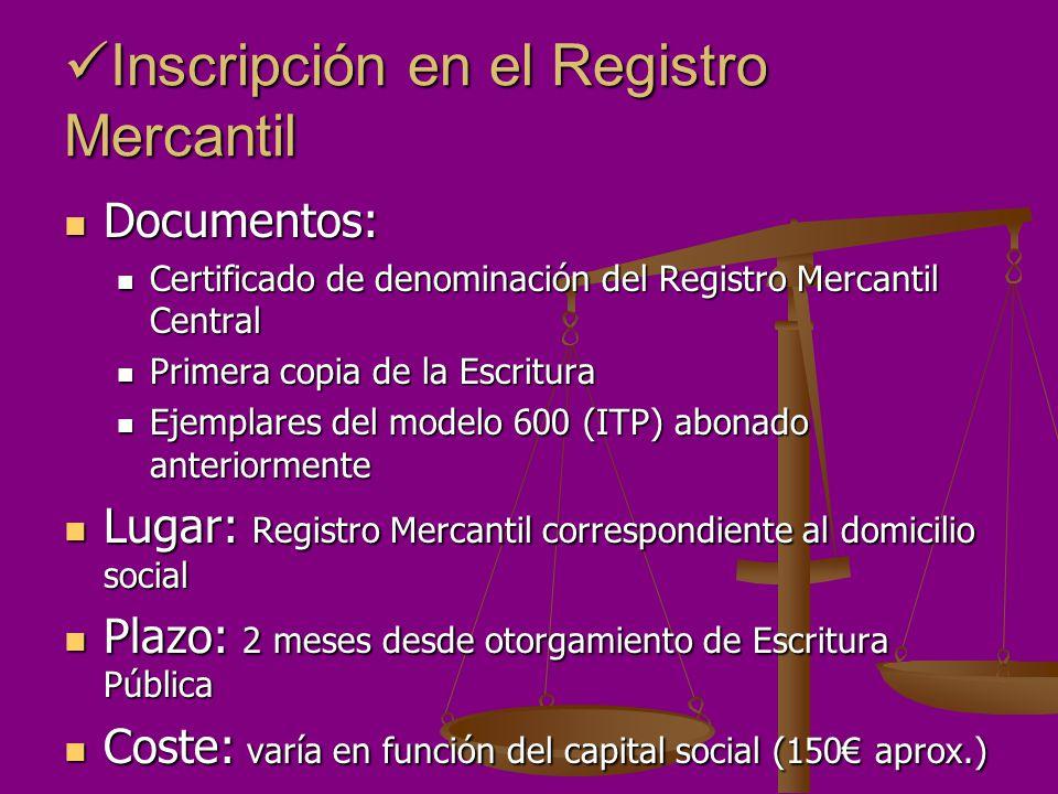 Inscripción en el Registro Mercantil