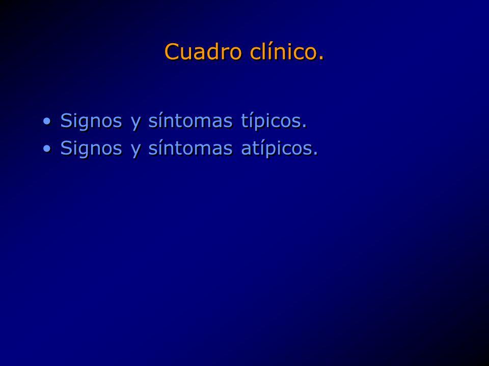 Cuadro clínico. Signos y síntomas típicos. Signos y síntomas atípicos.