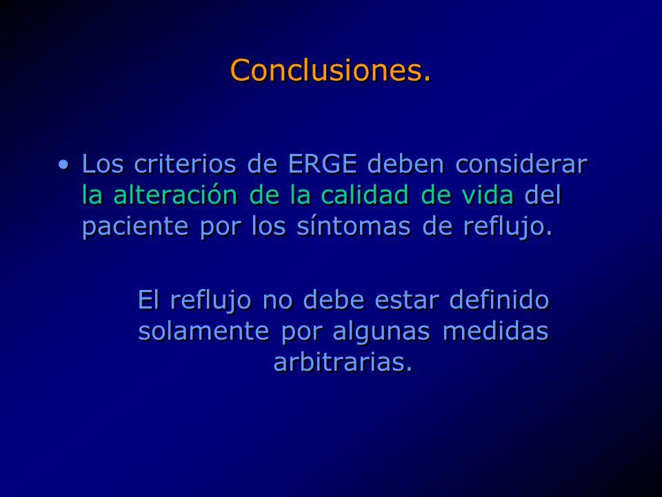 Conclusiones. Los criterios de ERGE deben considerar la alteración de la calidad de vida del paciente por los síntomas de reflujo.