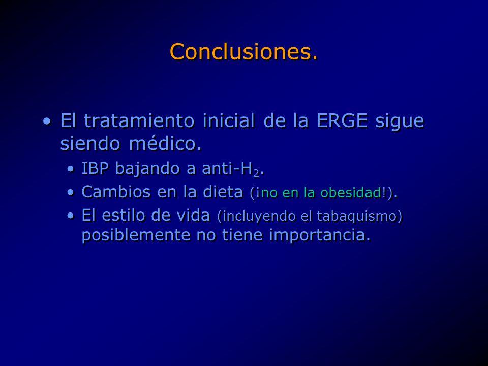 Conclusiones. El tratamiento inicial de la ERGE sigue siendo médico.