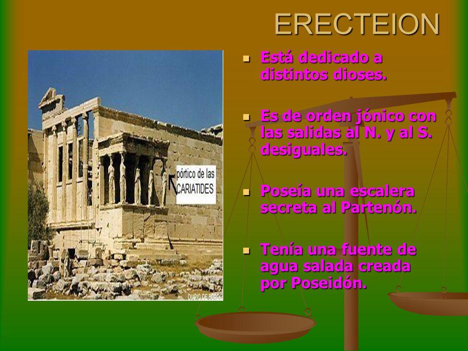 ERECTEION Está dedicado a distintos dioses.