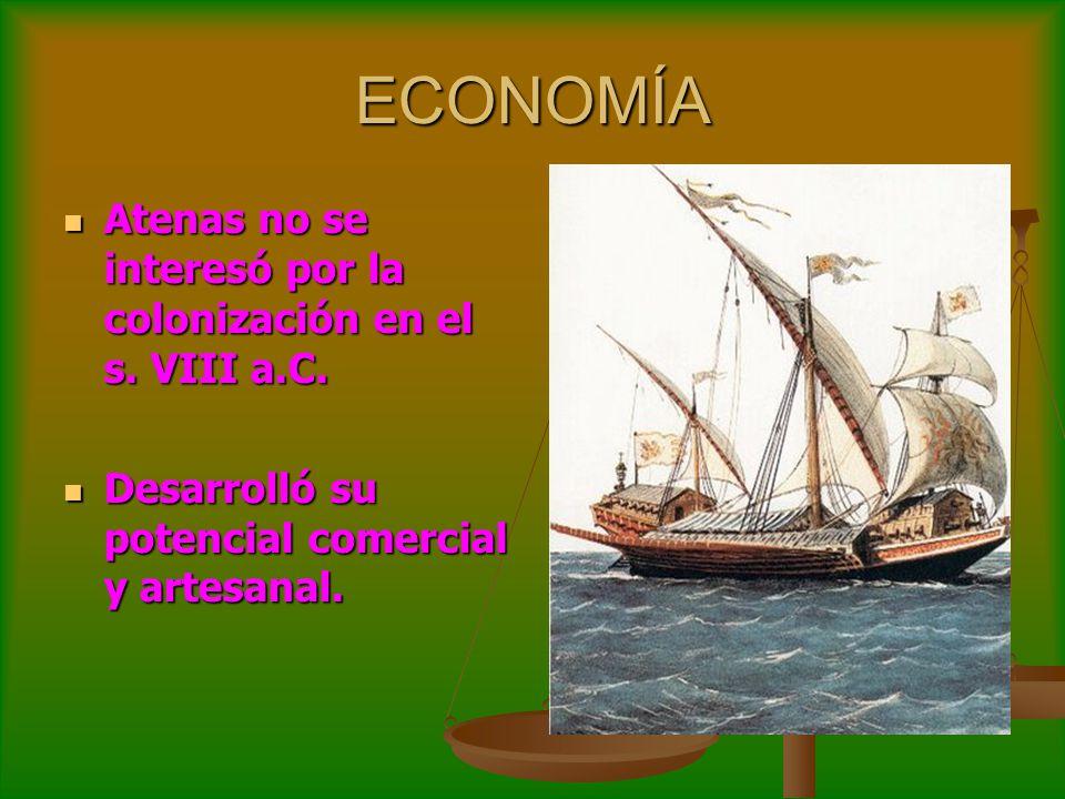 ECONOMÍA Atenas no se interesó por la colonización en el s. VIII a.C.