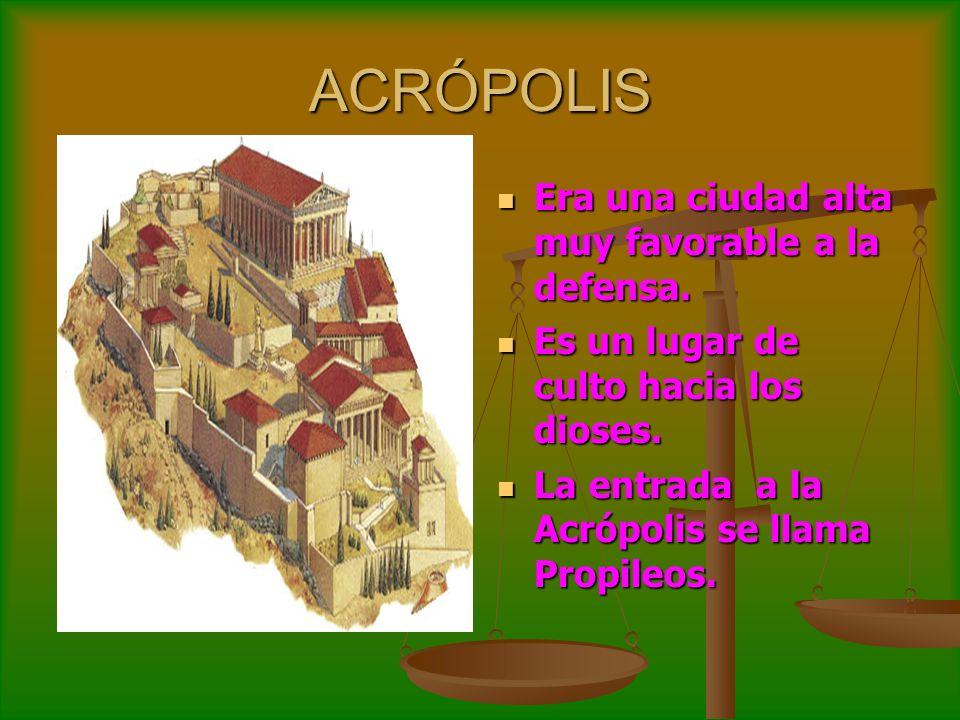 ACRÓPOLIS Era una ciudad alta muy favorable a la defensa.