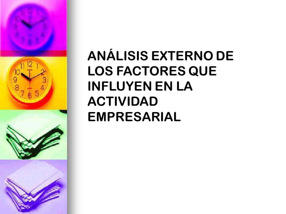 ANÁLISIS EXTERNO DE LOS FACTORES QUE INFLUYEN EN LA ACTIVIDAD EMPRESARIAL