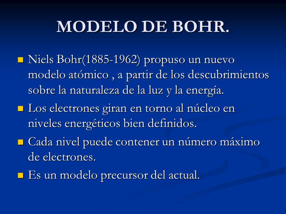 MODELO DE BOHR. Niels Bohr(1885-1962) propuso un nuevo modelo atómico , a partir de los descubrimientos sobre la naturaleza de la luz y la energía.
