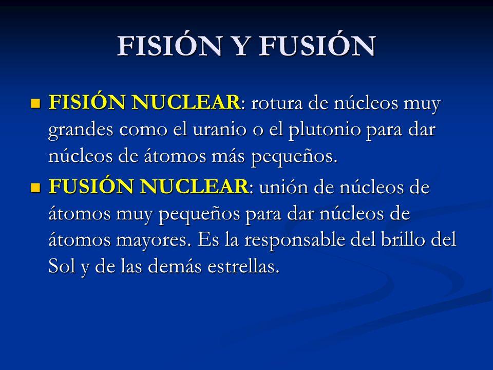FISIÓN Y FUSIÓN FISIÓN NUCLEAR: rotura de núcleos muy grandes como el uranio o el plutonio para dar núcleos de átomos más pequeños.