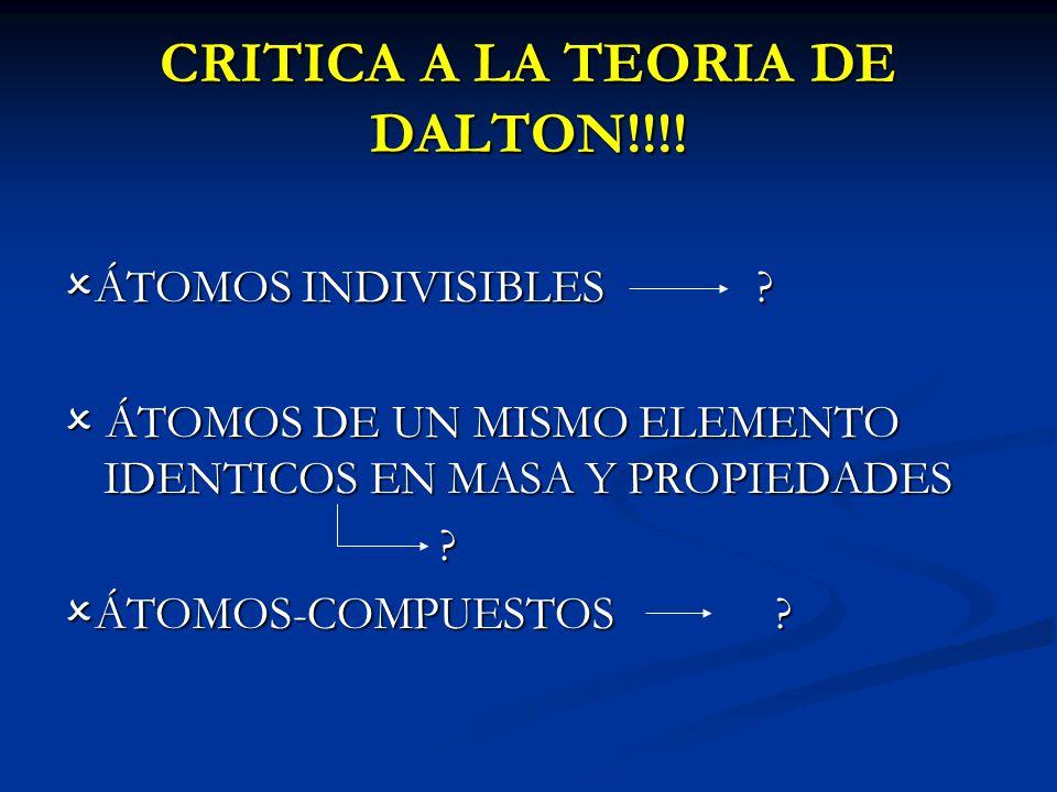 CRITICA A LA TEORIA DE DALTON!!!!