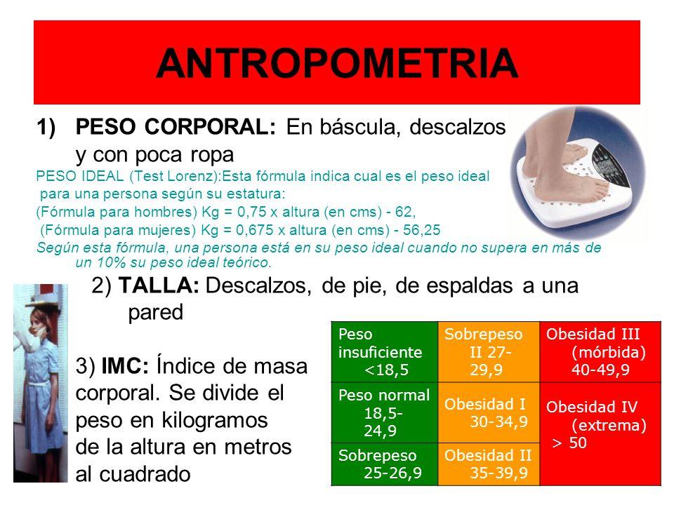 ANTROPOMETRIA PESO CORPORAL: En báscula, descalzos y con poca ropa