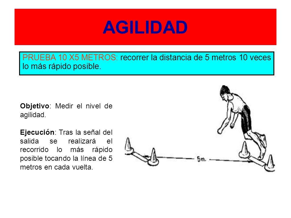 AGILIDAD PRUEBA 10 X5 METROS: recorrer la distancia de 5 metros 10 veces lo más rápido posible. Objetivo: Medir el nivel de agilidad.