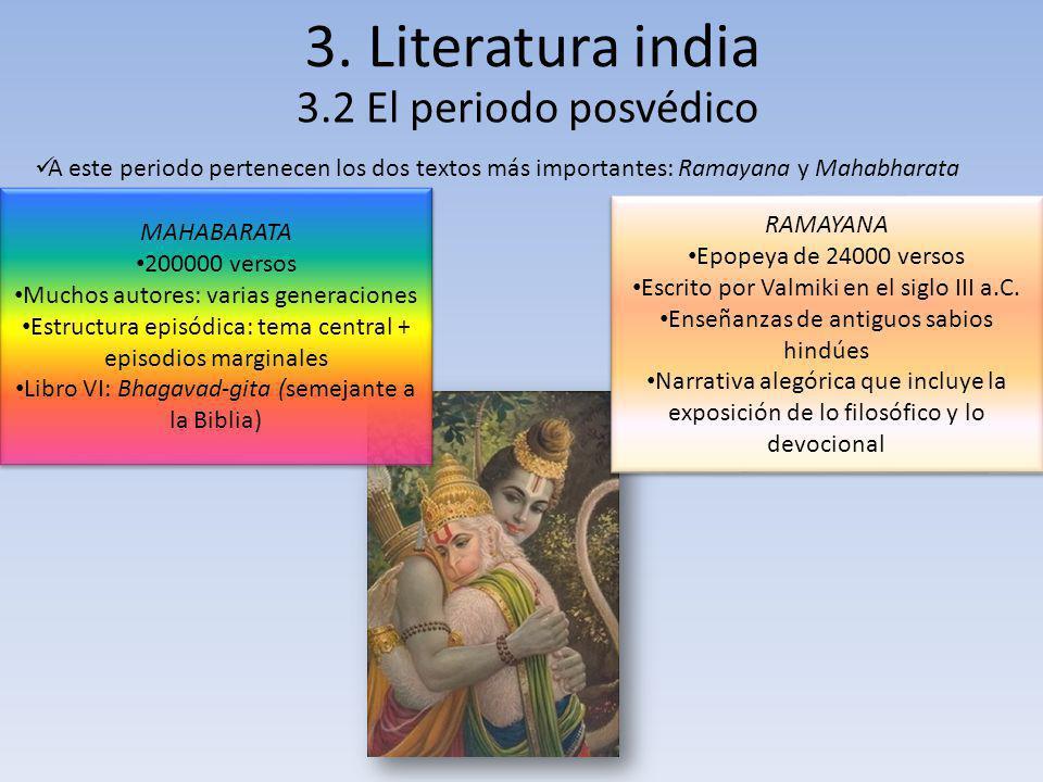 3. Literatura india 3.2 El periodo posvédico
