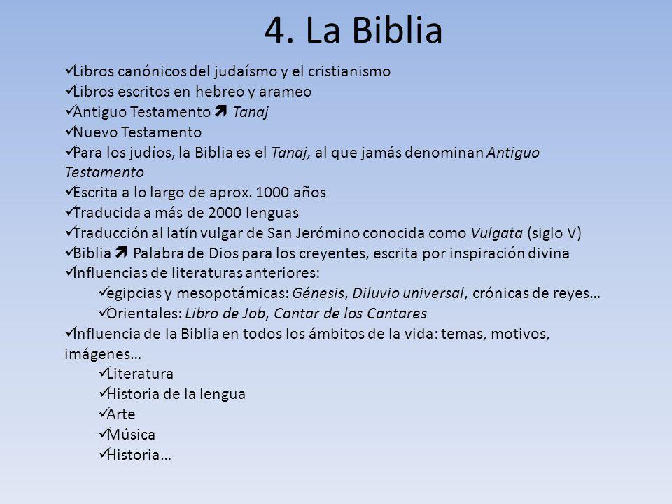 4. La Biblia Libros canónicos del judaísmo y el cristianismo