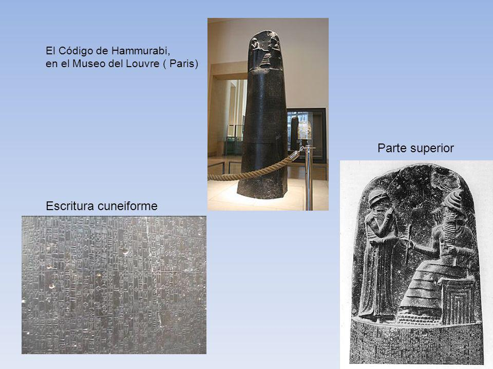 Parte superior Escritura cuneiforme El Código de Hammurabi,