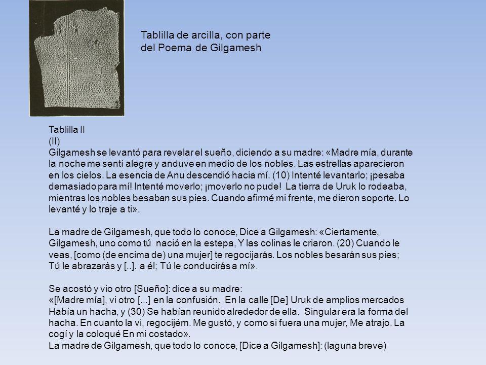 Tablilla de arcilla, con parte del Poema de Gilgamesh