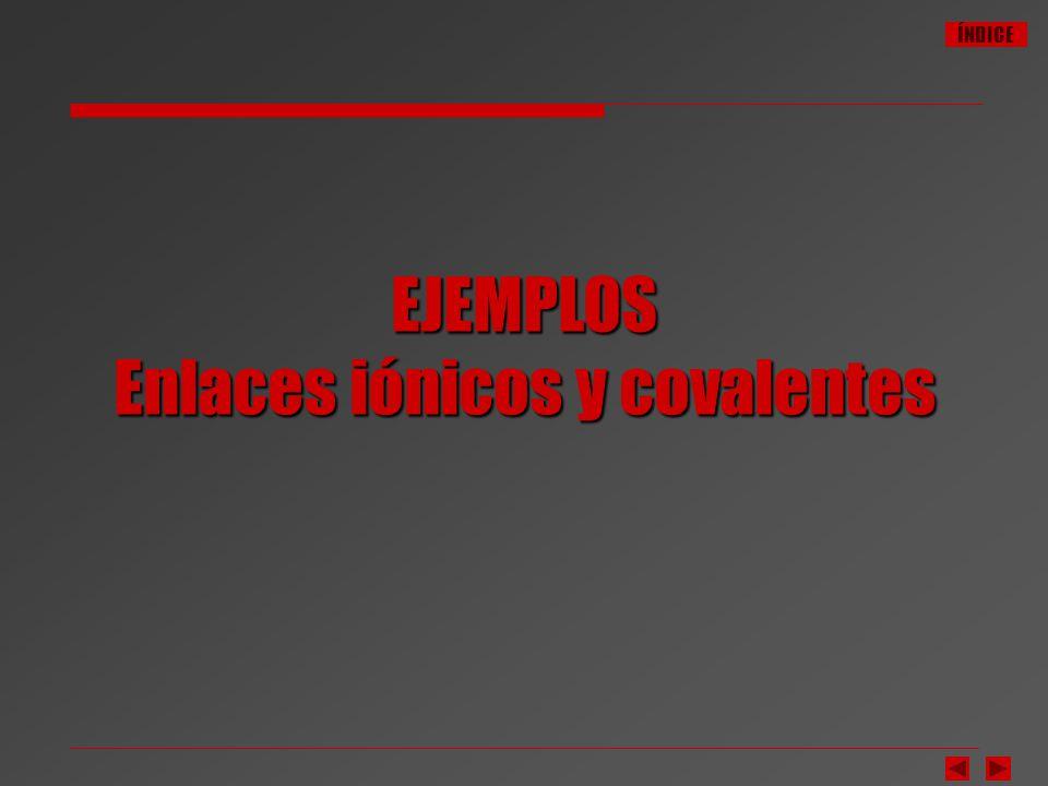 EJEMPLOS Enlaces iónicos y covalentes