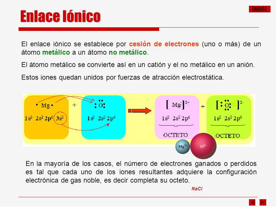 Enlace Iónico El enlace iónico se establece por cesión de electrones (uno o más) de un átomo metálico a un átomo no metálico.
