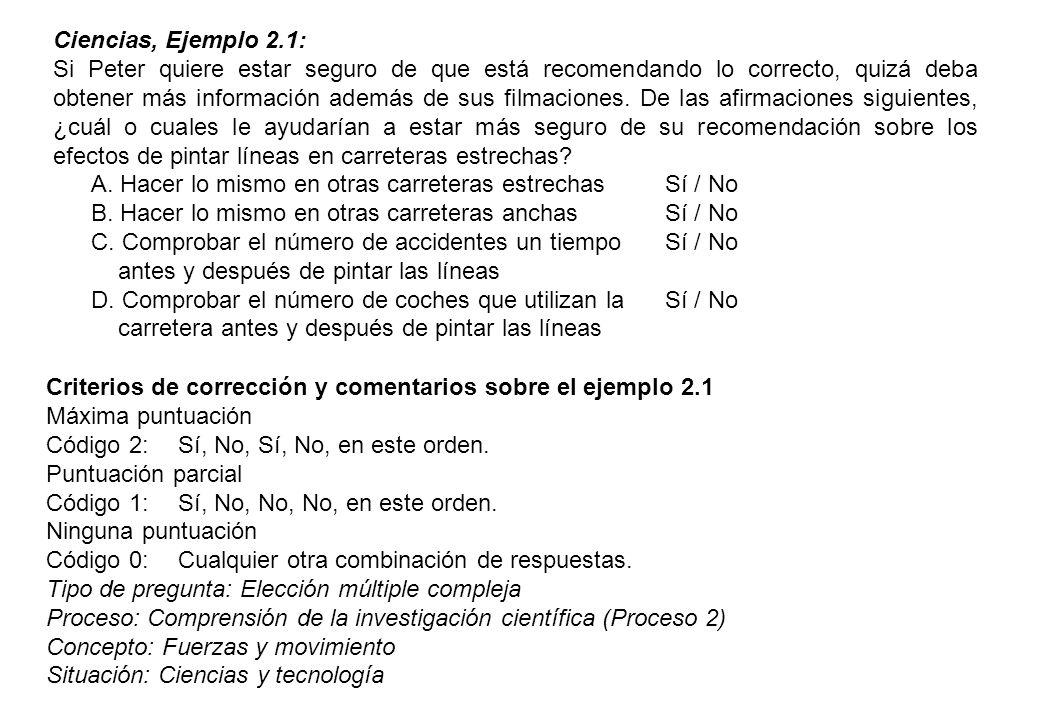 Ciencias, Ejemplo 2.1:
