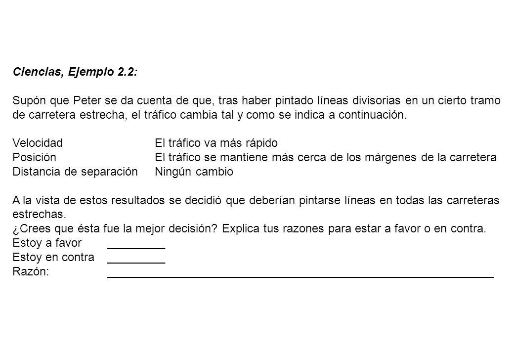 Ciencias, Ejemplo 2.2: