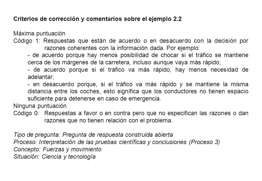 Criterios de corrección y comentarios sobre el ejemplo 2.2