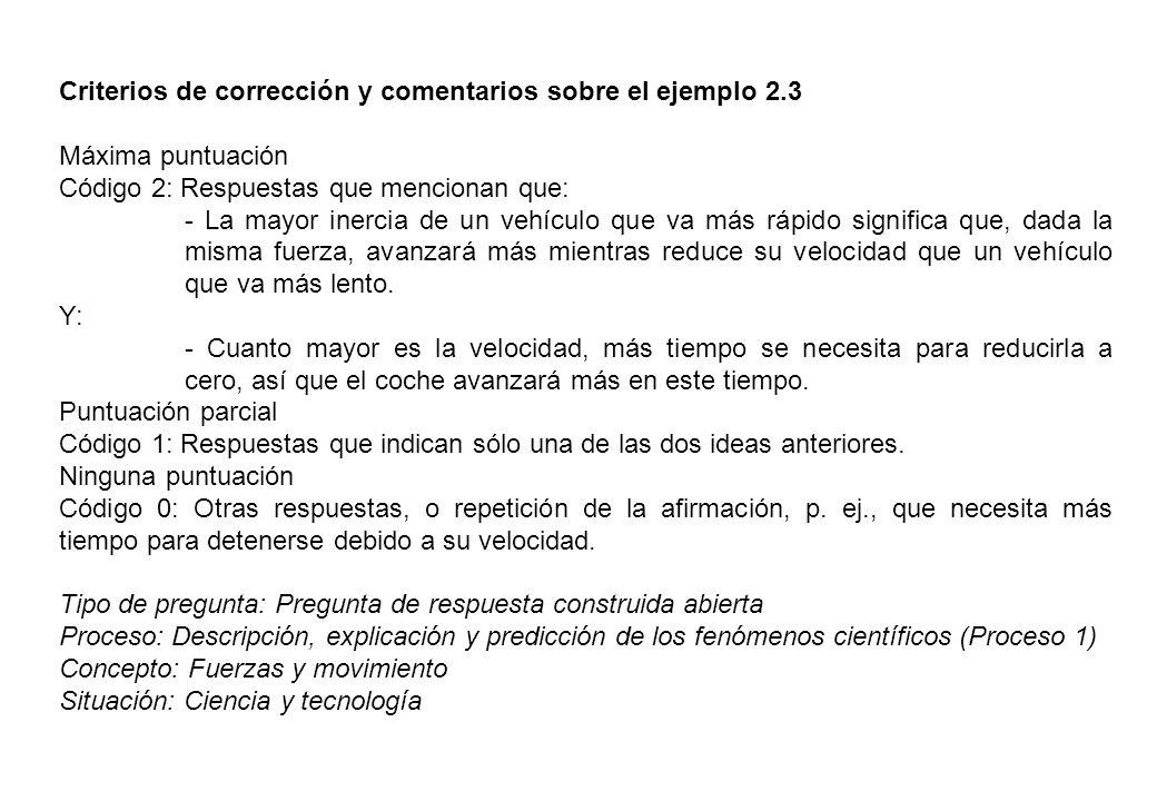 Criterios de corrección y comentarios sobre el ejemplo 2.3