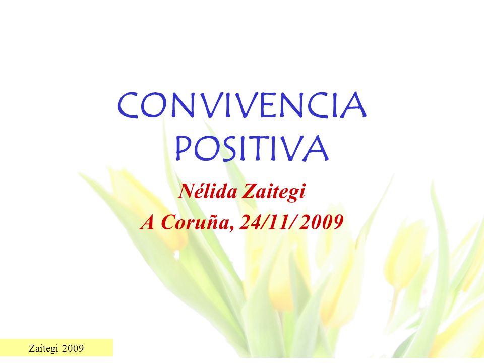 CONVIVENCIA POSITIVA Nélida Zaitegi A Coruña, 24/11/ 2009
