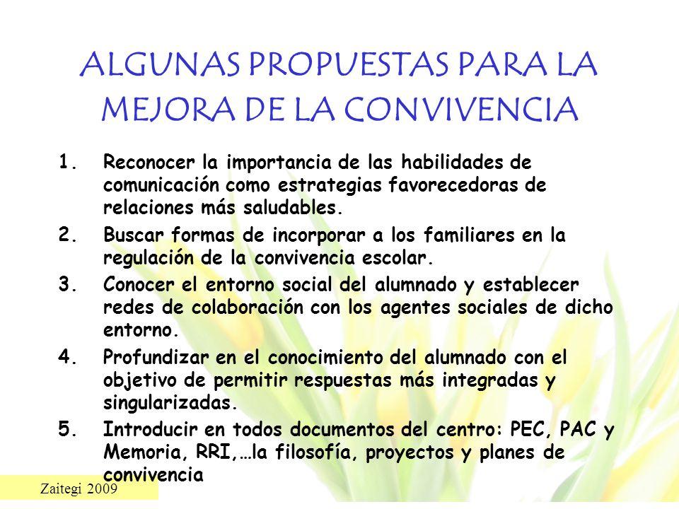 ALGUNAS PROPUESTAS PARA LA MEJORA DE LA CONVIVENCIA