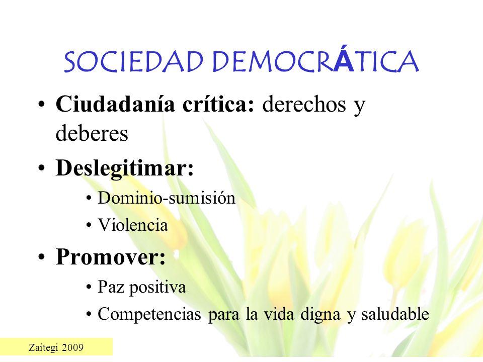 SOCIEDAD DEMOCRÁTICA Ciudadanía crítica: derechos y deberes