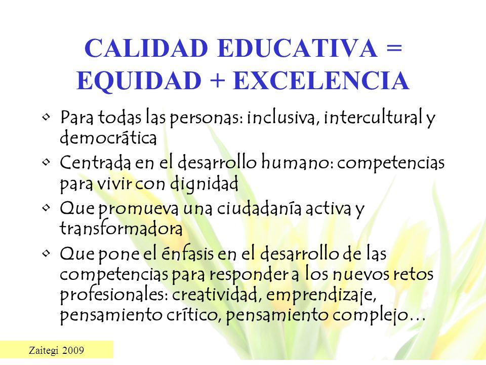 CALIDAD EDUCATIVA = EQUIDAD + EXCELENCIA