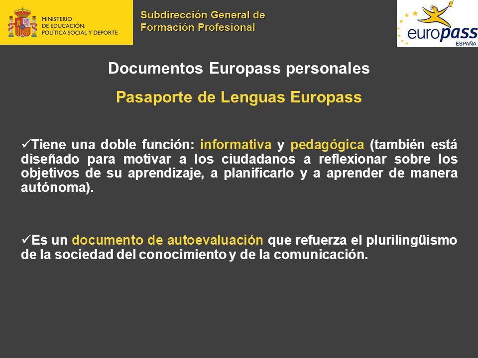 Documentos Europass personales Pasaporte de Lenguas Europass