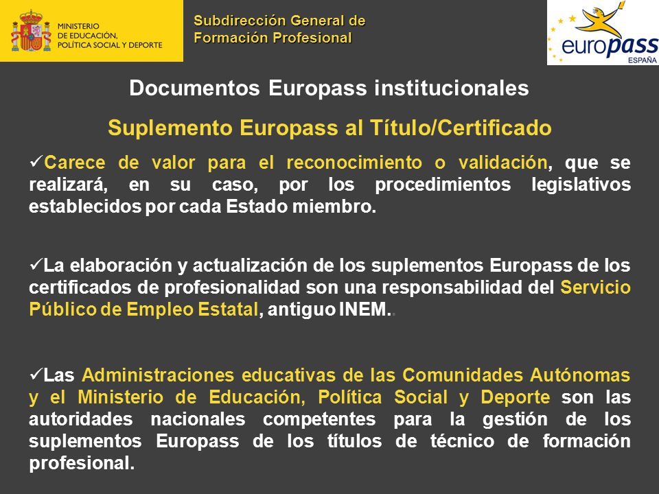 Documentos Europass institucionales